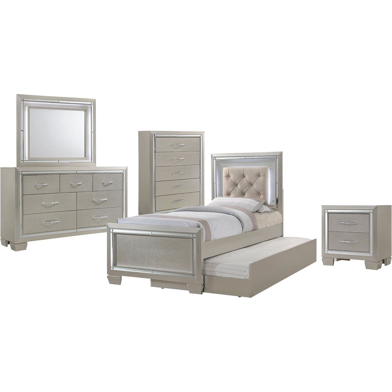 Elegance 5pc twin size bedroom suite with slide out trundle 98117a5tt1 cm - Suite cm ...
