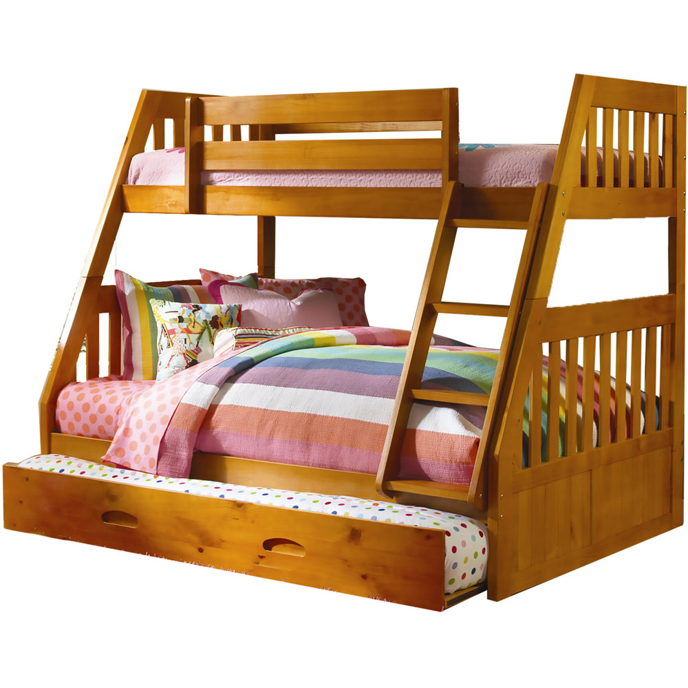 stanford bunk bed in honey pine with slide out trundle 98914tftr hn