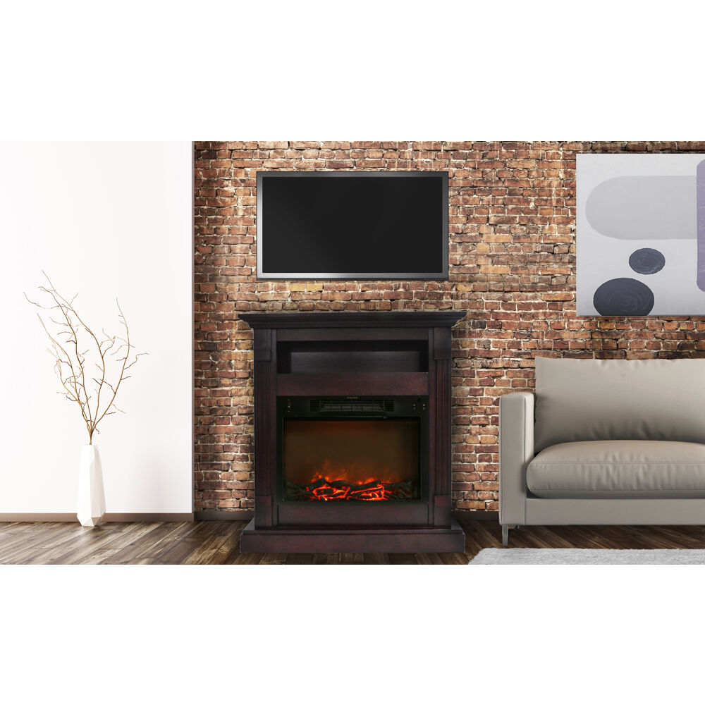 Sienna Fireplace Mantel With Electronic Fireplace Insert In Mahogany Cam3437 1mah