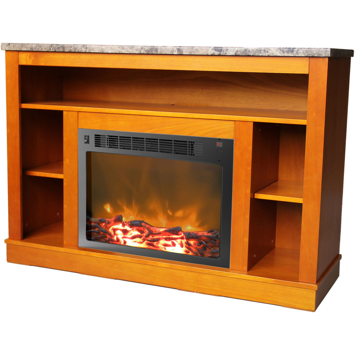 Seville Fireplace Mantel with Electronic Fireplace Insert