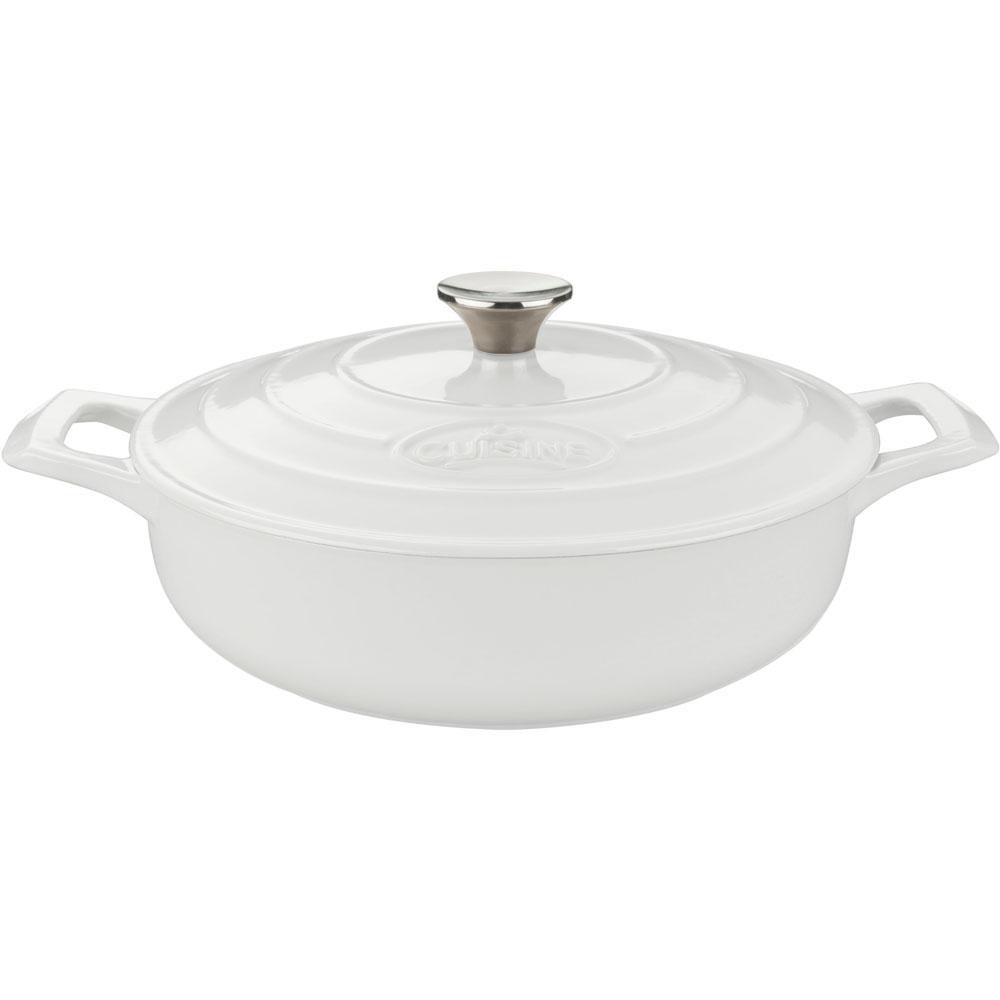 la cuisine 6pc enameled cast iron cookware set in white oval casserole trivet lc 2980. Black Bedroom Furniture Sets. Home Design Ideas