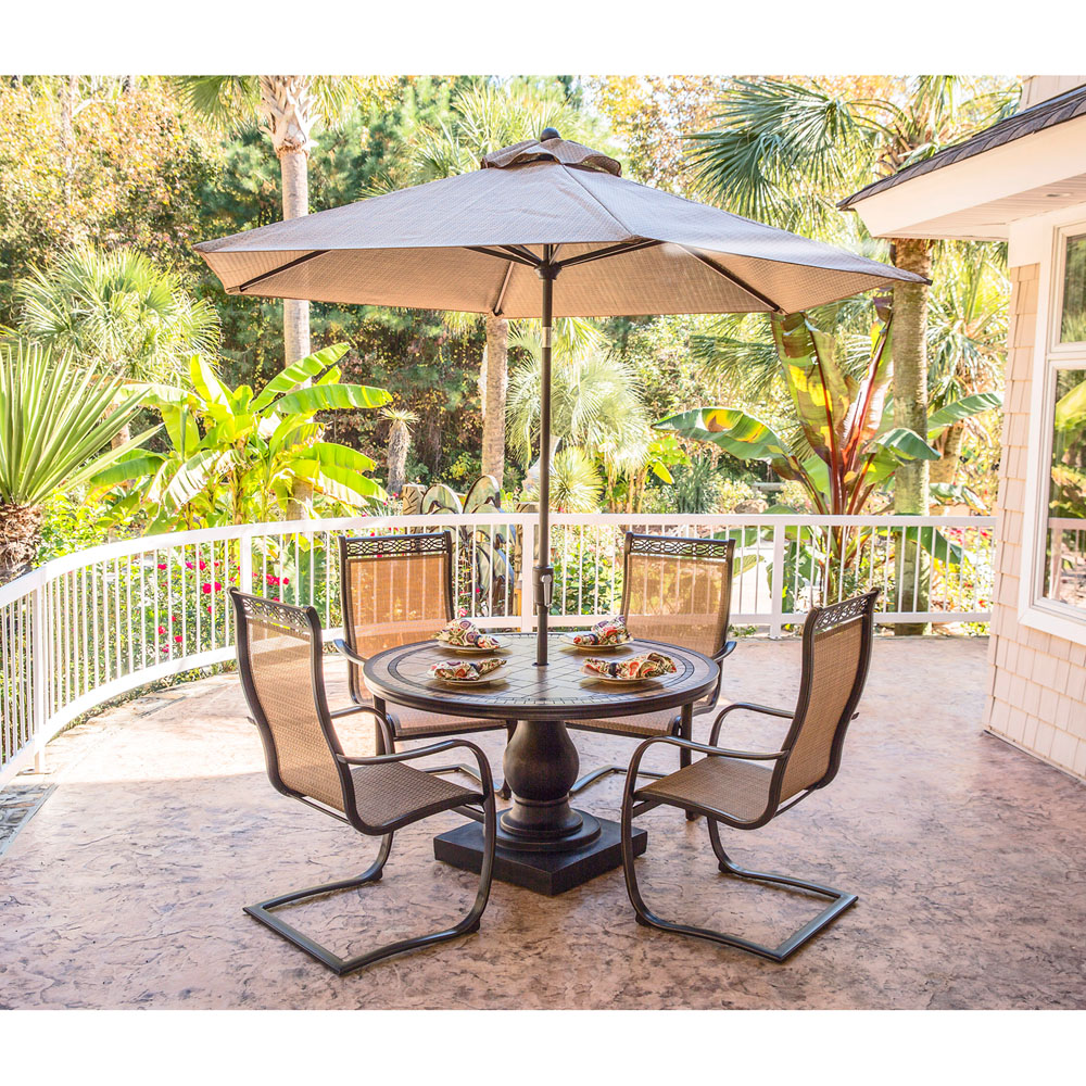 Monaco 5pc outdoor dining set with c spring chairs tile for Patio dining sets with bench seating