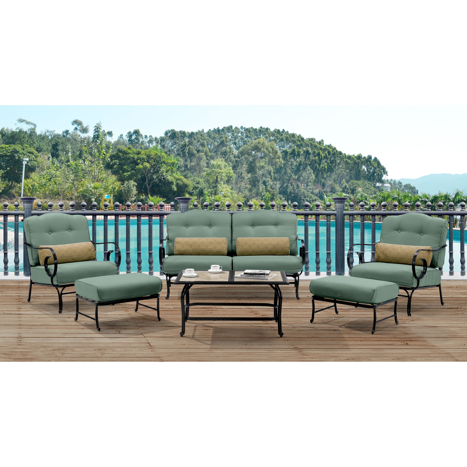 Tile Coffee Table Set: Oceana 6PC Seating Set In Ocean Blue With Tile-top Coffee