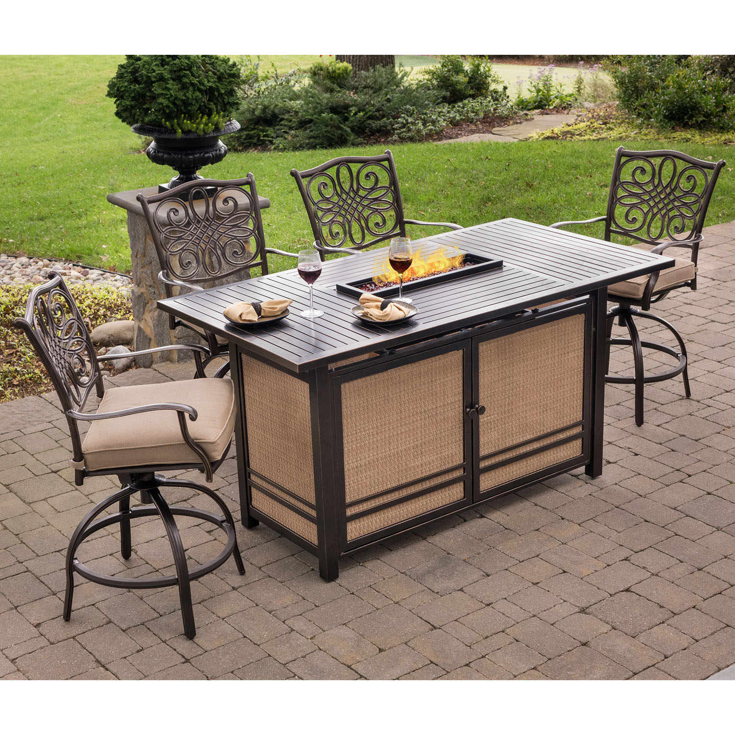 Hanover Traditions 5-Piece High-Dining Set in Tan with 4 ...