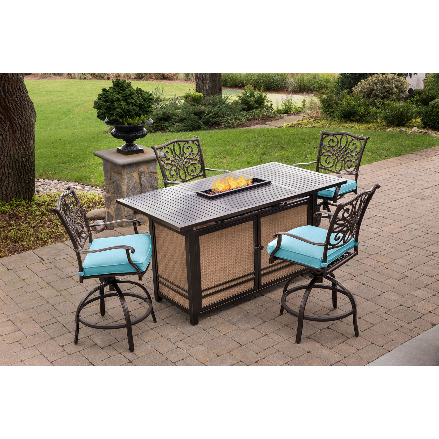 hanover traditions 5 piece high dining set in blue with 4 swivel chairs and a 30 000 btu fire. Black Bedroom Furniture Sets. Home Design Ideas