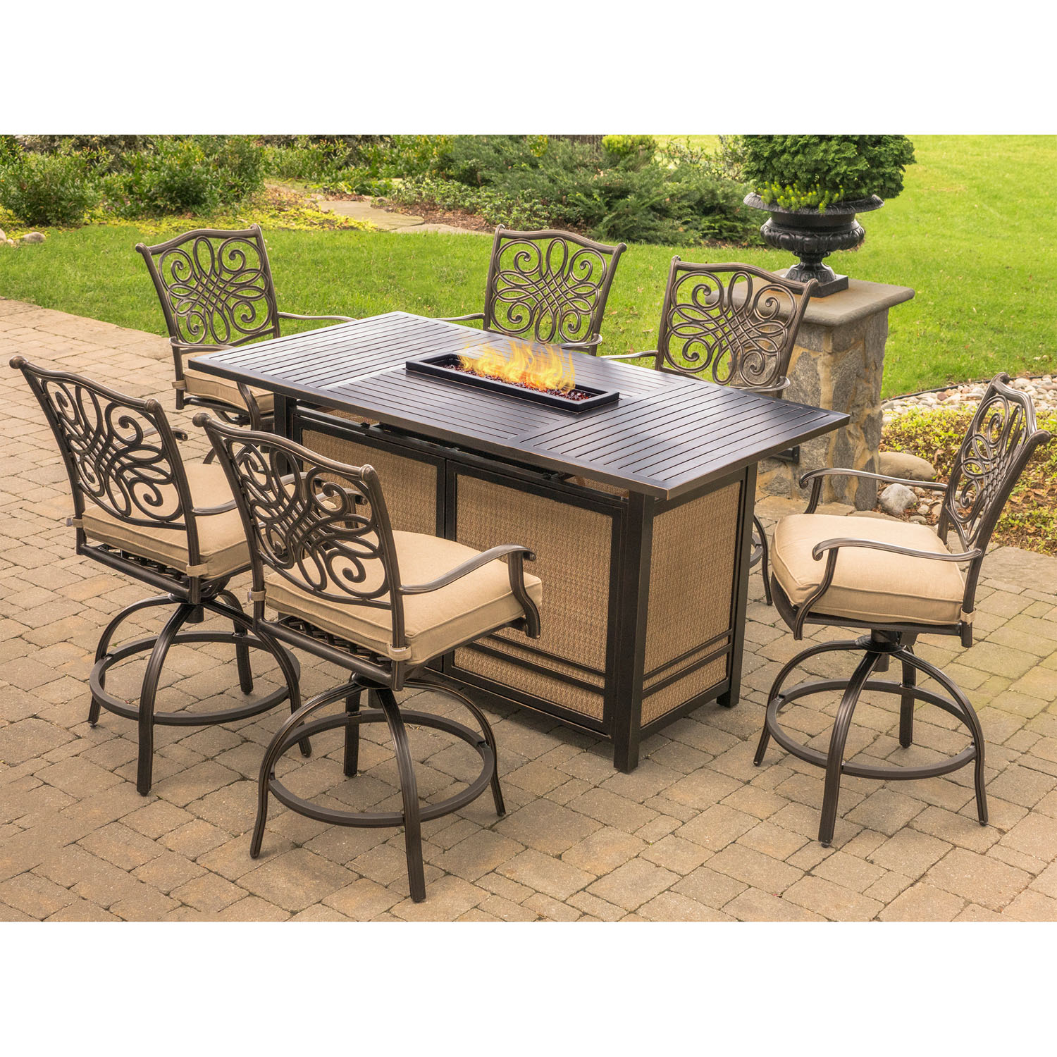 High Dinner Table Set: Hanover Traditions 7-Piece High-Dining Set In Tan With