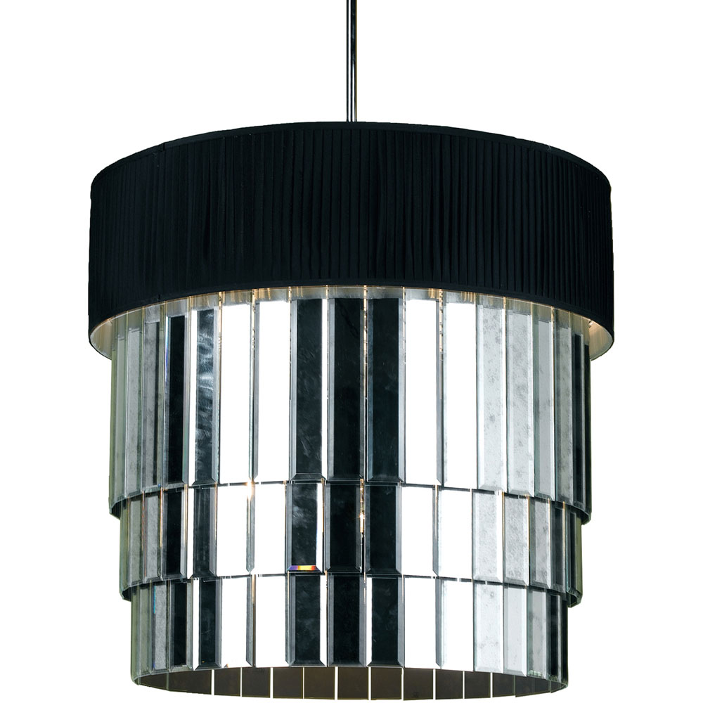 6740 6 Light Pendant Black Shade