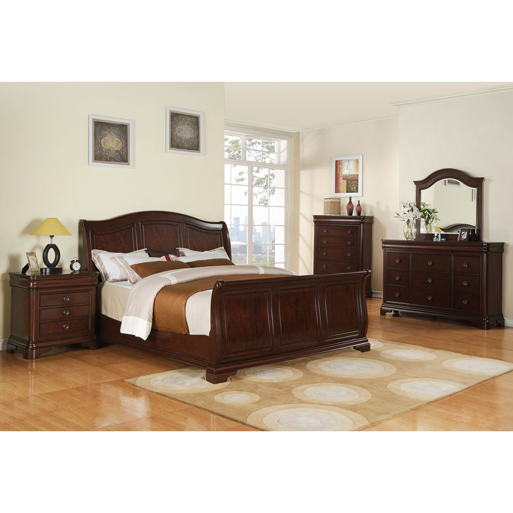 Cambridge Corolla 5 Piece Bedroom Suite: Queen Bed, Dresser, Mirror, Chest  And Nightstand   98125A5Q1 CH