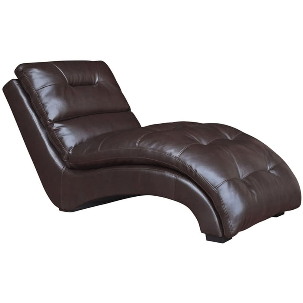 Savannah faux leather chaise lounge in chocolate brown for Brown leather chaise lounge