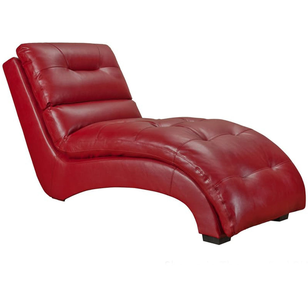 Savannah faux leather chaise lounge in red 981702 rd for Bellagio leather chaise lounge