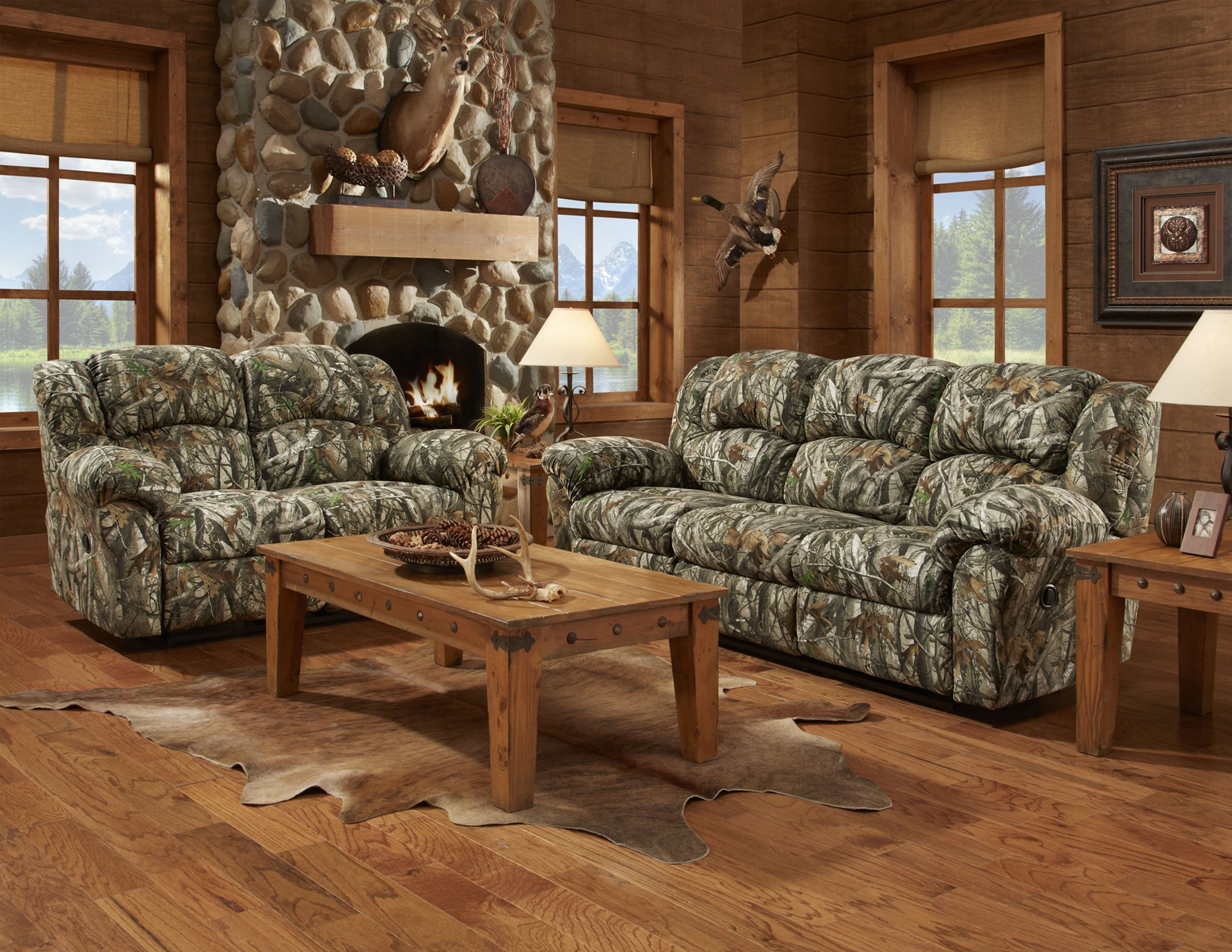 Cambridge camo two piece living room set sofa loveseat for 2 piece living room furniture set