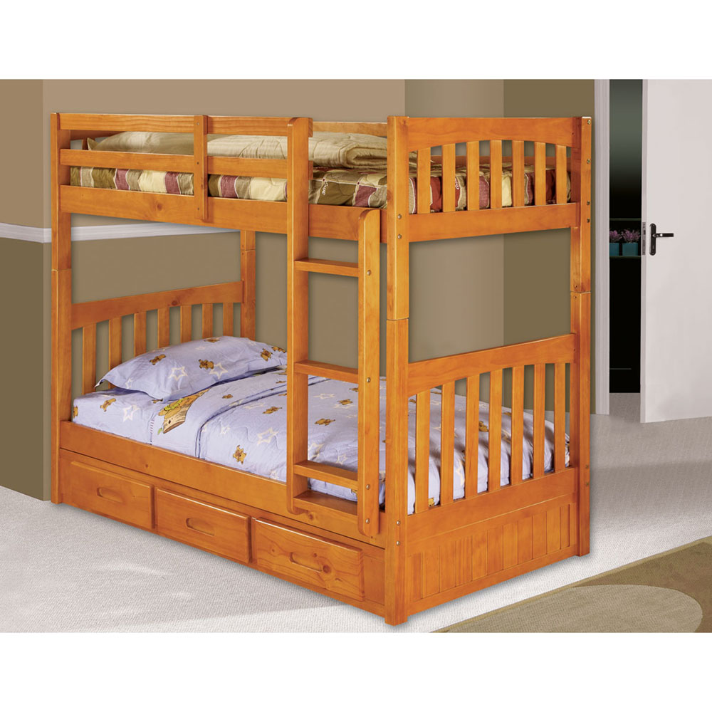 Braeburn Twin Over Twin Bunk Bed With Trundle 98912tttr Hn