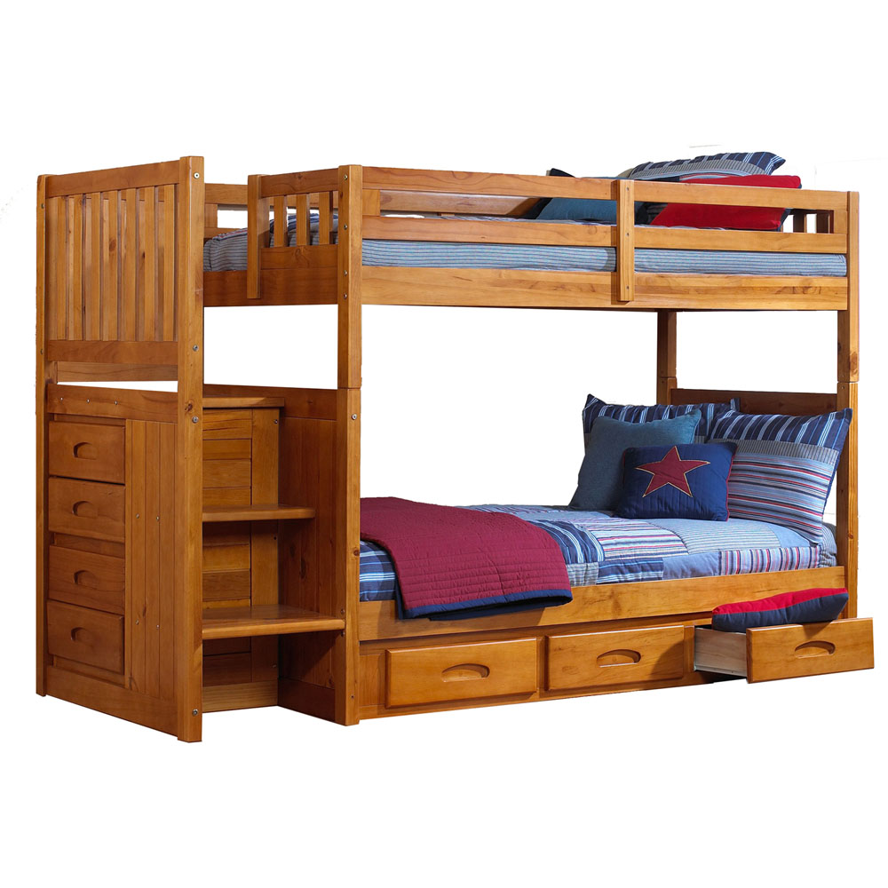 Twin Over Twin Staircase Bunk Bed With Storage Drawers