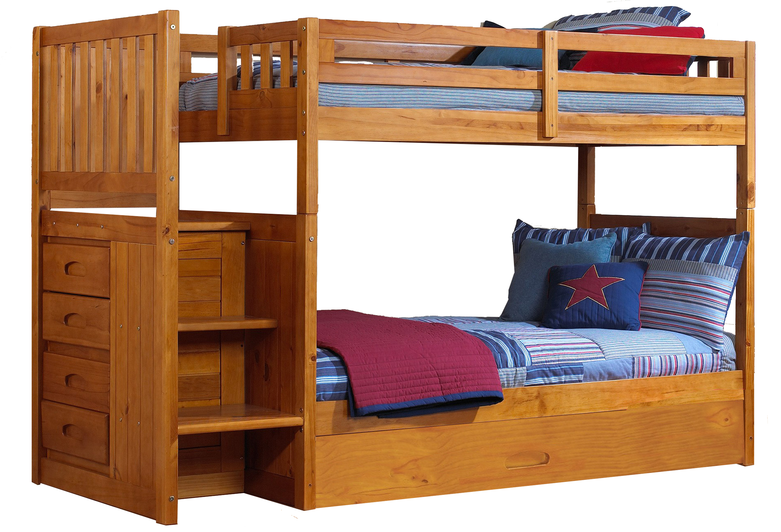 Twin Over Twin Staircase Bunk Bed With Slide Out Trundle