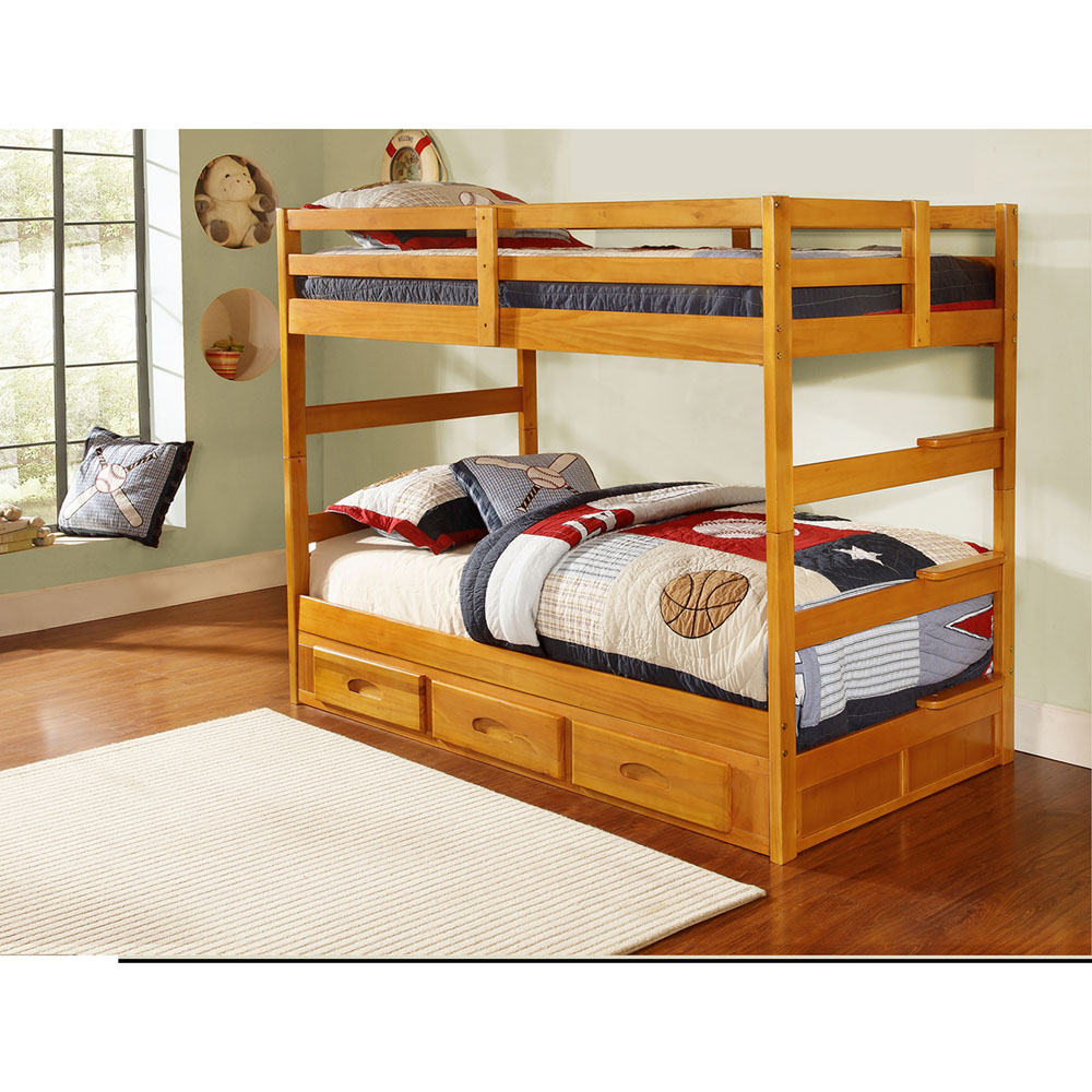 Grant Twin Over Twin Bunk Bed With Slide Out Trundle