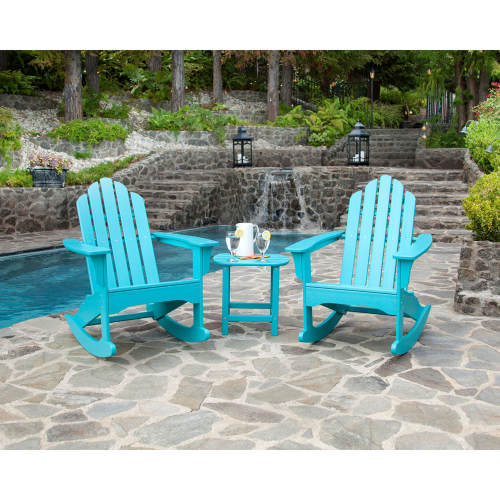 3pc all weather rocking adirondack patio set in aruba