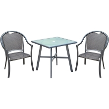 Hanover Bambray 3-Piece Commercial-Grade Patio Set with 2 Woven Dining Chairs and a 30-In. Glass-Top Bistro Table, BAMDN3PCG