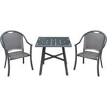 Hanover Bambray 3-Piece Commercial-Grade Patio Set with 2 Woven Dining Chairs and a 30-In. Aluminum Slat-Top Bistro Table, BAMDN3PCS