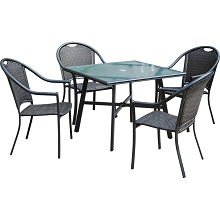 Hanover Bambray 5-Piece Commercial-Grade Patio Set with 4 Woven Dining Chairs and a 38-In. Glass-Top Dining Table, BAMDN5PCG