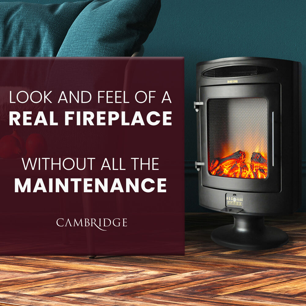 Sungard Exhibition Stand Here Alone : Cambridge w freestanding electric fireplace with log