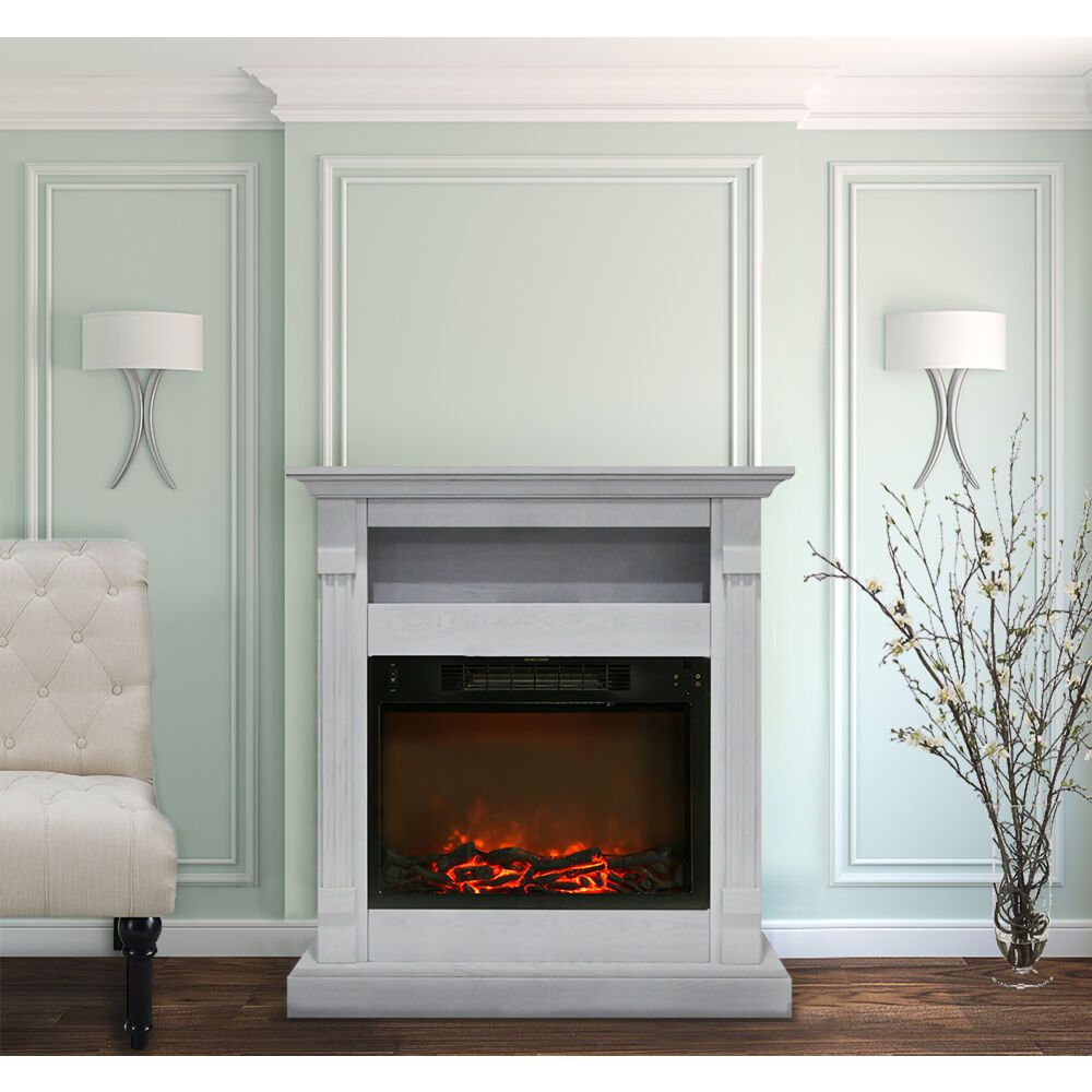 Sienna Fireplace Mantel With Electric Fireplace Insert In White Cam3437 1wht