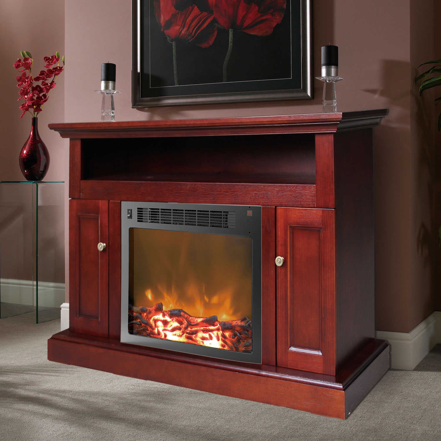 Sorrento Fireplace Mantel With Electronic Fireplace Insert