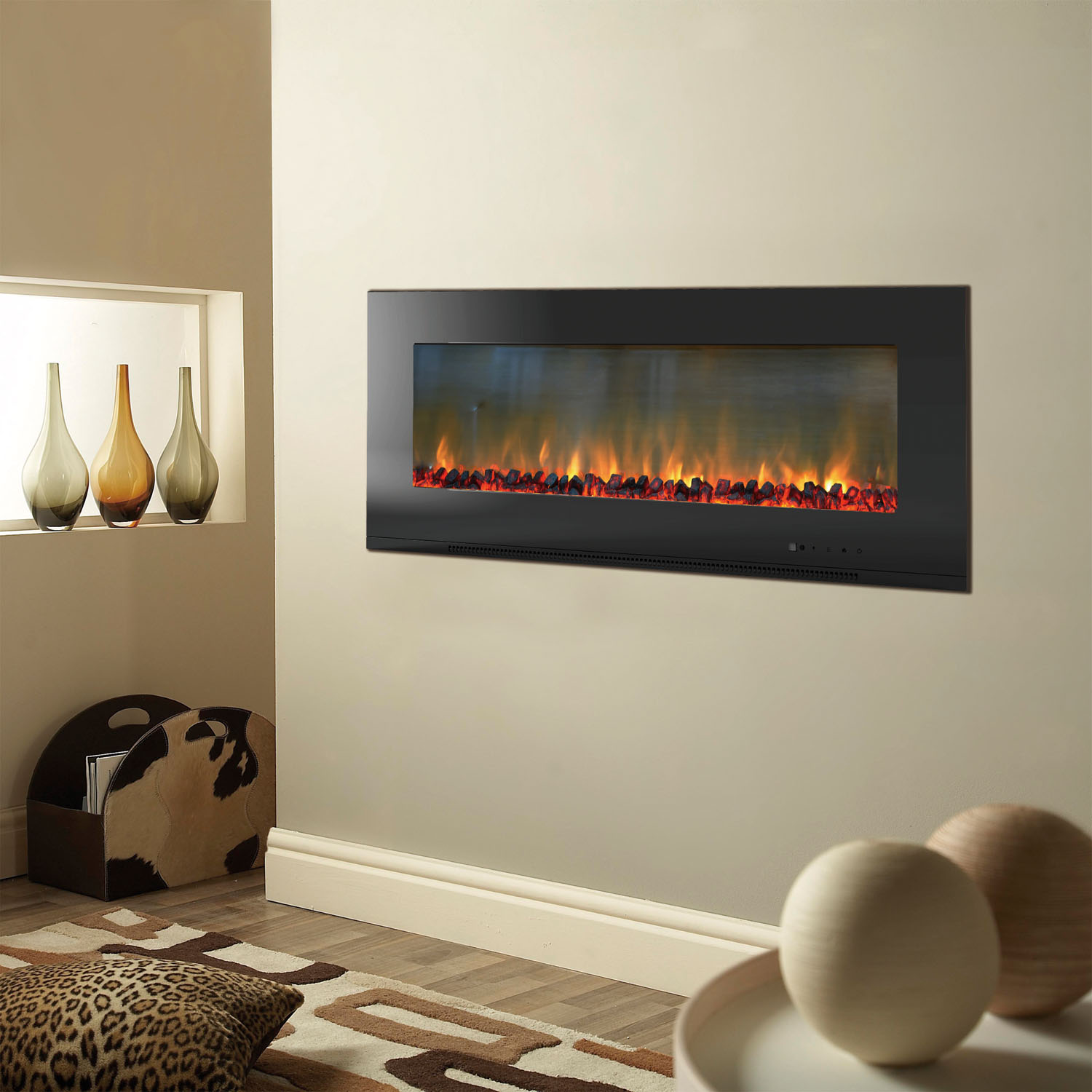 Metropolitan 56 In Wall Mount Electronic Fireplace With