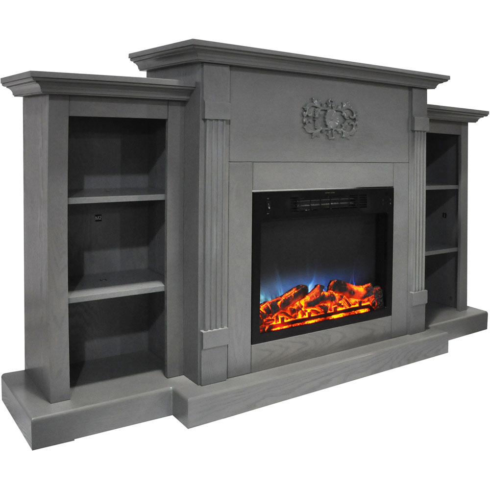 Cambridge Sanoma 72 In. Electric Fireplace in Gray with Built-in Bookshelves and a Multi-Color ...