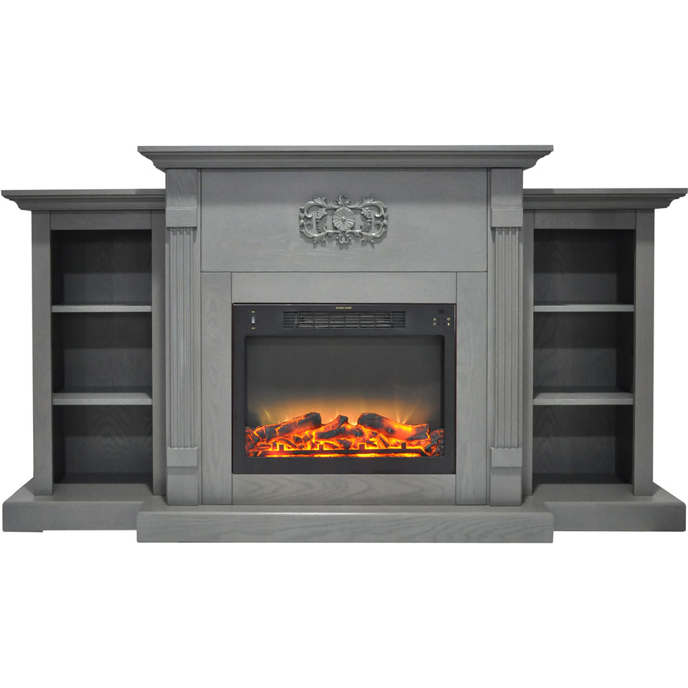 cambridge sanoma 72 in electric fireplace in gray with