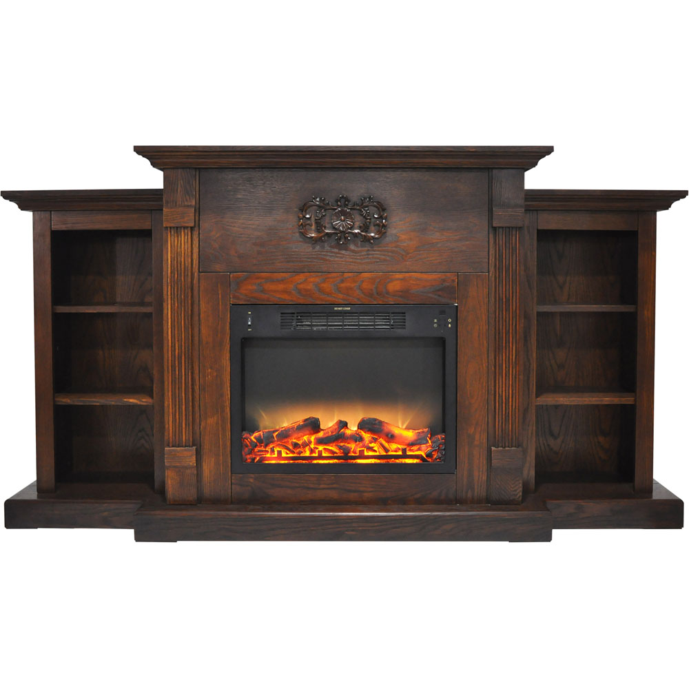 cambridge sanoma 72 in electric fireplace in walnut with
