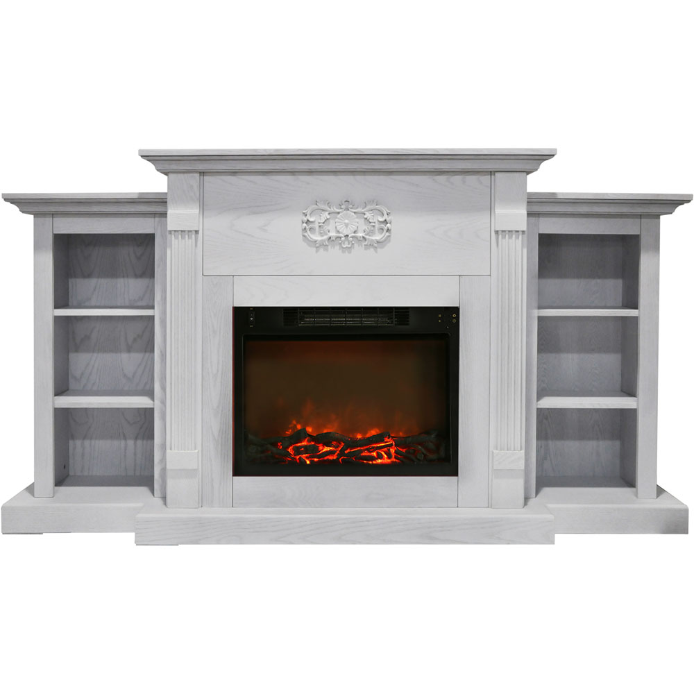 Cambridge Sanoma 72 In Electric Fireplace In White With Built In Bookshelves And A 1500w