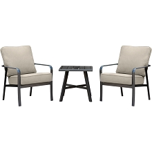 Hanover Cortino 3-Piece Commercial-Grade Patio Seating Set with 2 Cushioned Club Chairs and a 22-In. Aluminum Slat-Top Side Table, CORT3PC-ASH