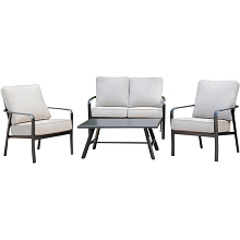 Hanover Cortino 4-Piece Commercial-Grade Patio Seating Set with 2 Cushioned Club Chairs, Loveseat, and Slat-Top Coffee Table, CORT4PCL-ASH