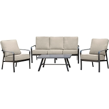Hanover Cortino 4-Piece Commercial-Grade Patio Seating Set with 2 Cushioned Club Chairs, Sofa, and Slat-Top Coffee Table, CORT4PCS-ASH