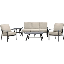 Hanover Cortino 5-Piece Commercial-Grade Patio Seating Set with 2 Cushioned Club Chairs, Sofa, and Slat-Top Coffee and Side Table, CORT5PCS-ASH