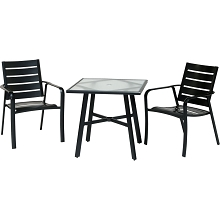 Hanover Cortino 3-Piece Commercial-Grade Bistro Set with 2 Aluminum Slat-Back Dining Chairs and a 30