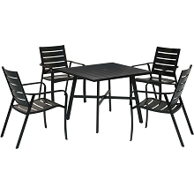 Hanover Cortino 5-Piece Commercial-Grade Patio Dining Set with 4 Aluminum Slat-Back Dining Chairs and a 38