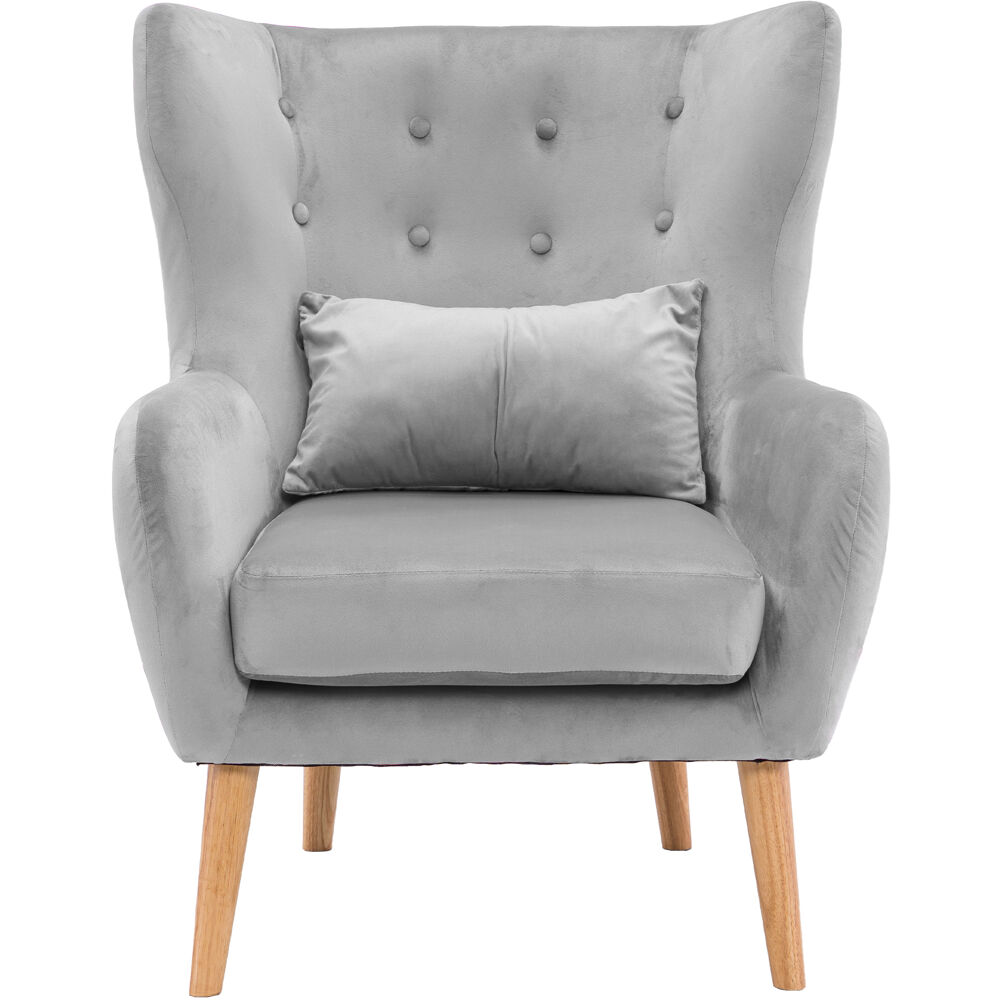 Critter Sitters Faux Velvet Wingback Accent Chair with Wooden Legs, Grey, CSVELCHR-GRY