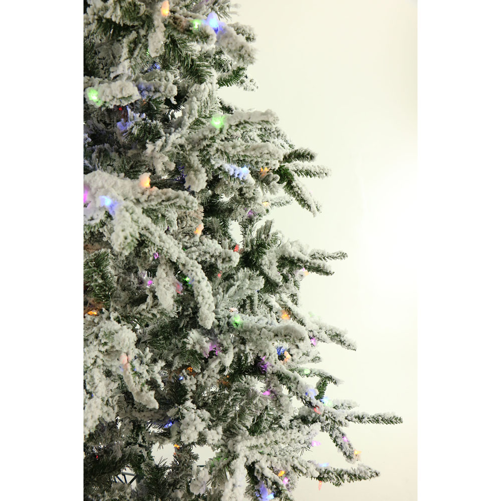 7.5 Ft. Flocked Mountain Pine Christmas Tree with Multi-Color LED ...
