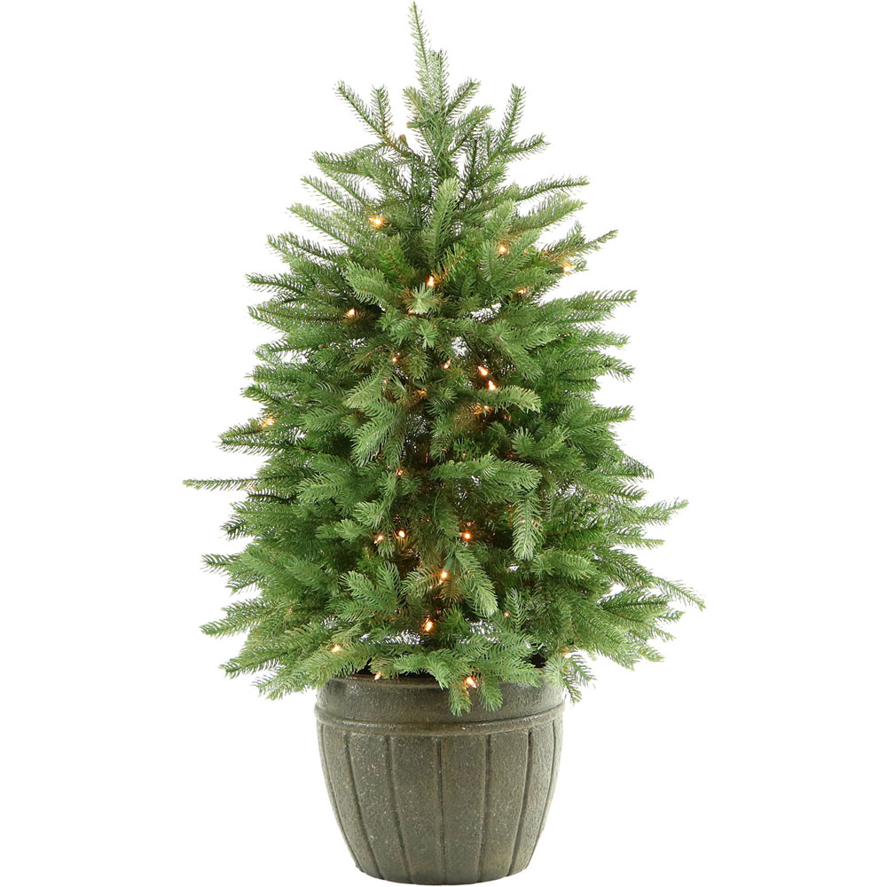 Most Realistic Artificial Christmas Tree Reviews: Fraser Hill Farm 4-Ft. Potted Pine Tree With Clear Lights