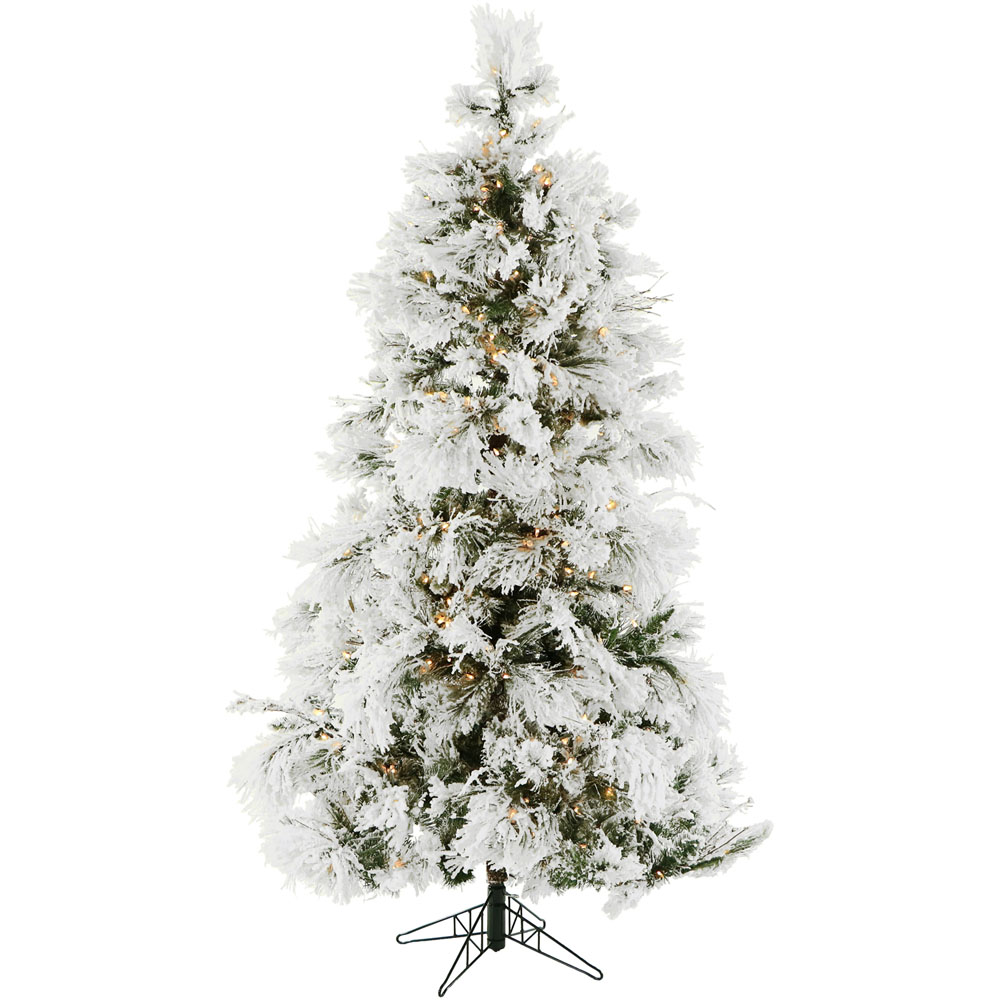 7 5 Ft Flocked Snowy Pine Christmas Tree With Clear Led