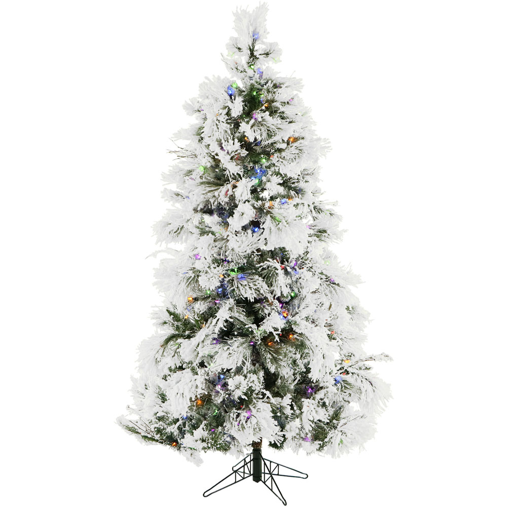 7.5 Ft. Flocked Snowy Pine Christmas Tree with Multi-Color ...