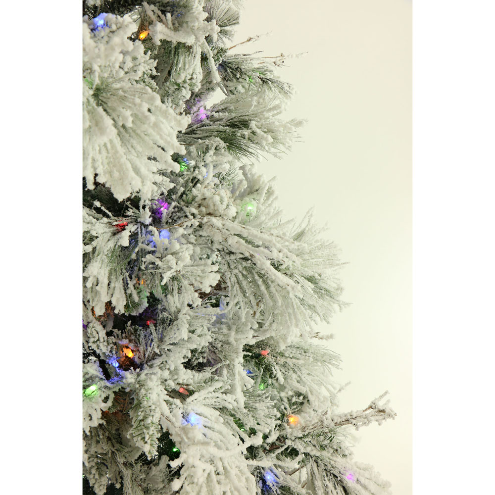 9 Ft. Flocked Snowy Pine Christmas Tree with Multi-Color LED String ...