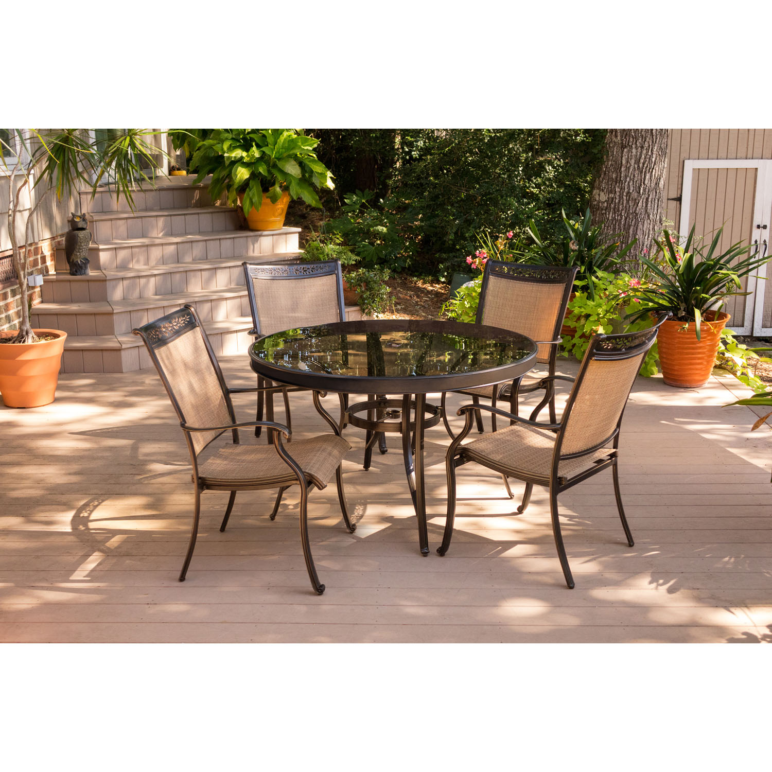 Fontana 5pc dining set with 4 dining chairs and a 48 in for Living spaces fontana