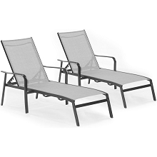 Hanover Foxhill 2-Piece All-Weather Commercial-Grade Aluminum Chaise Lounge Chair Set with Sunbrella Sling Fabric, FOXCHS2PC-GRY