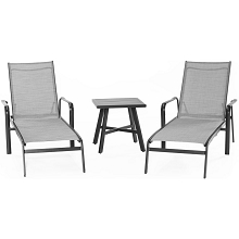 Hanover Foxhill 3-Piece All-Weather Commercial-Grade Aluminum Chaise Lounge Chair Set with 22