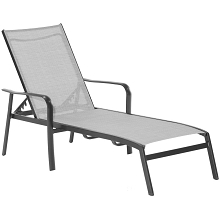Hanover Foxhill All-Weather Commercial-Grade Aluminum Chaise Lounge Chair with Sunbrella Sling Fabric, FOXCHS-GRY
