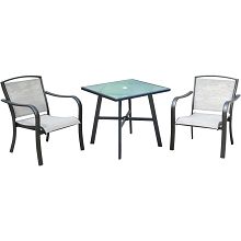 Hanover Foxhill 3-Piece Commercial-Grade Bistro Set with 2 Sling Dining Chairs and a 30