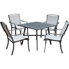 Hanover Foxhill 5-Piece Commercial-Grade Patio Dining Set with 4 Sling Dining Chairs and a 38