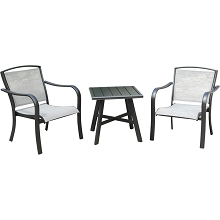 Hanover Foxhill 3-Piece Commercial-Grade Patio Seating Set with 2 Sling Lounge Chairs and a 22